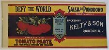 DEFY THE WORLD Tomato Paste Can Label Quinton NJ