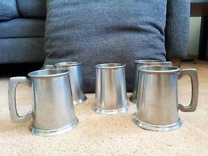 5 Fine English Pewter, Sheffield, Beer Tankards, Steins, w/ Glass Bottoms, BPC