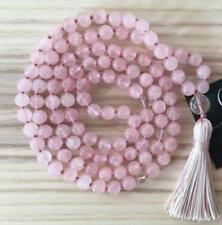 6mm Natural Rose Quartz Pink Tassels 108 Beads Necklace yoga Mala meditation