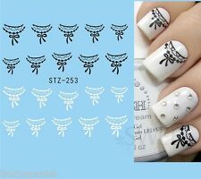 Nail Art Water Decals Transfers Stickers Black Lace Bows French Gel Polish (253)