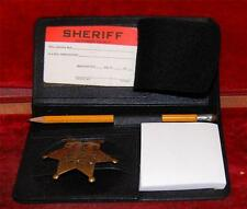 Top Grain Cowhide Detectives Secretary Leather Badge & ID  Case Free Shipping