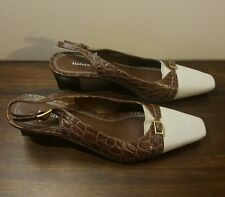 NATURALIZER Brown Leather Snake Skin Pattern Slingback Pumps Size 8 N