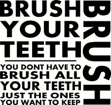 BRUSH YOUR TEETH Words Lettering Wall Decal Subway Art Sticker Quote Saying