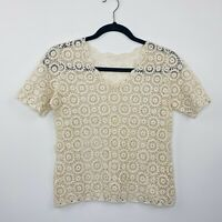 Vintage Crochet Top Cream Boho Hippy 70s Style Cropped Size 8 - 12