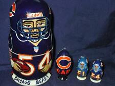 (1) Russian Nesting Doll Set - Chicago Bears Nfl w/ (3) Player Xmas Ornaments