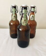 Vintage Grolsch Brown Lot of Three Glass Porcelain Flip Swing Top Beer Bottles