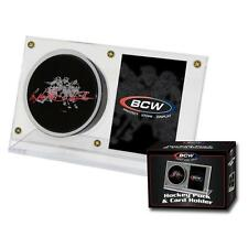 BCW Hockey Puck & Card Display Crystal Clear Plastic Autograph Case Holder NHL