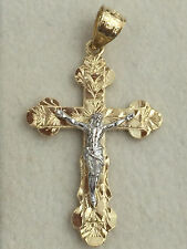 SMALL 1.27 inch Religious 14k yellow Two Tone Gold Jesus Crucifix Cross Pendant