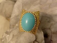 Modern Mid Century Modernist Stunning ! Persian Turquoise Ring 18K Gold Abstract