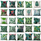 Tropical Plant Floral Leaves Pillow Case Cotton Cushion Cover Car Home Decor AU