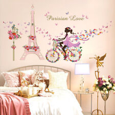 Paris Eiffel Wall Stickers 3D Decals Mural Wallpaper Flower Butterfly Decor Home