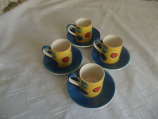 CANHOME Set 4 x Coffee Espresso Mugs Cups & Saucers HAND PAINTED Dotted Circles