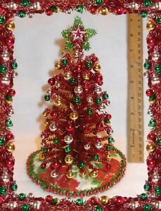 """NEW! 1:12 8"""" LIGHTED RED TINSEL CHRISTMAS TREE DOLLHOUSE MINIATURES  +ORNAMENTS"""