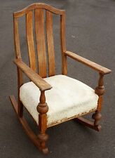 Antique Vintage Victorian Fabric Wood Wooden Rocking Armchair Arm Chair Rocker