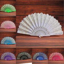 Vintage Spanish Style Dance Wedding Party Lace Silk Folding Hand Flower Fan Gift