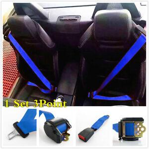 Quick Release Camlock Retractable Car Seat Belt 3 Point Adjustable Blue 1 Set