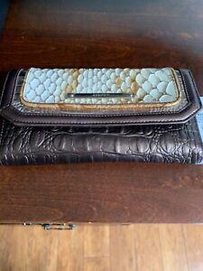 NWT BRAHMIN Soft Checkbook Leather Wallet Pen Honey Carlisle