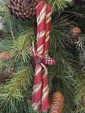 Primitive Christmas Peppermint Stick Candy Jute Burlap Rusty Wire Ornament NEW