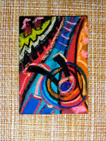 ACEO original pastel painting outsider folk art brut #010274 abstract surreal