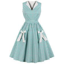 Womens Check Plaid Tea Party Rockabilly Evening Empire Waist Midi Swing Dress