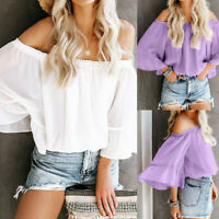 Womens Boho Off Shoulder Chiffon T-Shirt Ladies Summer Autumn Beach Tops Blouse