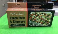 New Mr Bar B Q Non Stick Shish Kabob Rack & Skewers Grill Barbeque BBQ Grilling