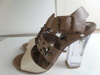 "Dollhouse ""Devour""Women's High Heel Sandals, Beige/ Brown Size 7"