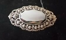 Vintage Silver and Onyx Marcasite Brooch