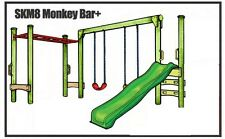 Double Swing Slide & Monkey Bar Set Kit Wood Playground Backyard Kids DIY SKM8+