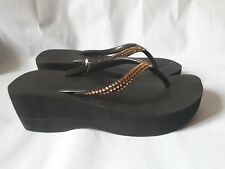 Havaianas Crystal Womens Wedge Flip flop Black Size 38 / US 6