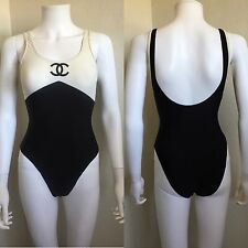 Rare Vintage 90s Chanel Logo Black & White One Piece Swimsuit XS S