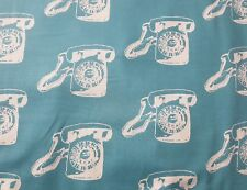 Aqua Vintage Telephone Print Quilting Cotton Fabric