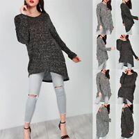 Ladies Womens Knitted Marl Lagenlook Long Sleeve Oversize Baggy Hi-Lo Jumper Top