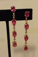 14K Yellow Gold RUBY Linear 4-Stone (7x5mm) Drop Earrings, FOR RUBY SNOBS!