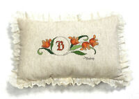 Vintage 1970s Needlepoint Throw Pillow Signed J Bishop Flax Lace Trim Floral