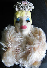 RARE VINTAGE ELZAC VICTIM OF FASHION LADY PIN BROOCH PINK FUR SCARCE CROCHET HAT