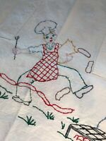Vintage Mens Hand Embroidered BBQ Full Apron