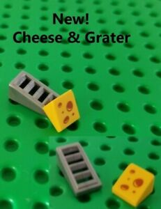Lego FOOD Chef Tools Cheese Printed Quarter with Silver Grater Kitchen Dishes
