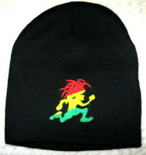 Rasta Red,Yellow,Green Jamician Running Man Black Beanie Ski Cap-New with Tags!