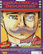 Fake Moustache GREY English Man Theatrical Hair Self Adhesive