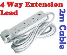 4 Way Gang Electric Extension Lead 2 M METER Cable 13A UK Plug Multi Way Adapter