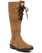 NEW UGG Elsa Quilted Waterproof Chestnut Leather Shearling Lace-Up Boot US 7/38