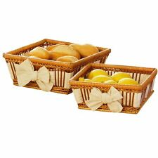 Premier Housewares Fern Baskets With Cream Lining and Bow Detail - Set of 2