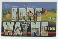[73749] OLD LARGE LETTER POSTCARD GREETINGS from FORT WAYNE, INDIANA