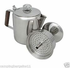 Camp Coffee Percolator Pot 9 Cup Stainless Steel Camping Kitchen Kettle Picnic
