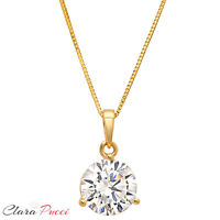 "2.0Ct Round Cut 14K Yellow Gold 3-prong Pendant Necklace Box With 16"" Chain"