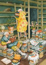 Postkarte: Inge Löök - Frauen räumen Bücherregal ein / Nr. 66