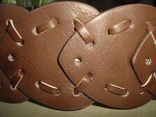 "NWOT-Betsey Johnson Light Brown Circle Disc Belt w/Gold Buckle Sz M 37.5"" Long"