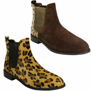 F5R1143 LADIES LEATHER COLLECTION PULL ON WINTER LEOPARD PRINT ANKLE BOOTS SIZE