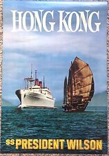 Original Travel Poster Hong Kong 1965 Chinese Junk APL Vintage Ocean Cruise Ship